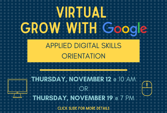 blue dotted background with program info in yellow block with Google logo