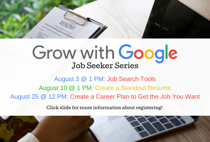 Photo of someone holding a clipboard with a resume while sitting in front of a laptop and grow with google logo in foreground