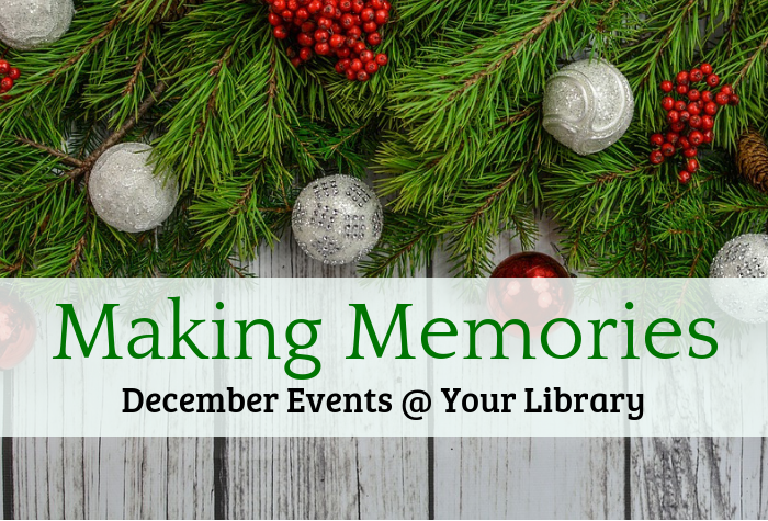 Photo of holiday greenery and ornaments with Making Memories overlaid