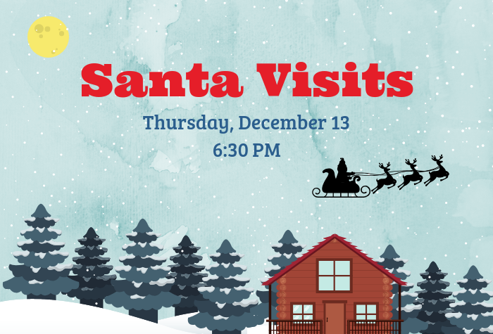 Graphic of cabin in snowy woods with santa's sleigh in the sky above