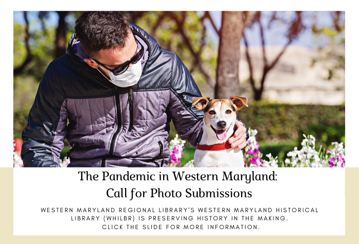Man in a mask sitting outside next to a small dog and call for photos in white text box below
