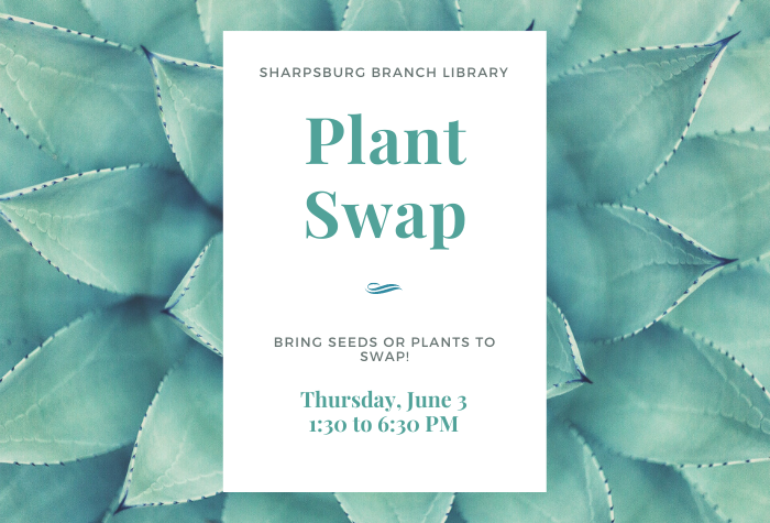 Succulent background with white block and green Plant Swap and dates in classy font