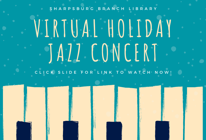 abstract piano keys along bottom with concert title in tall font at top against blue background