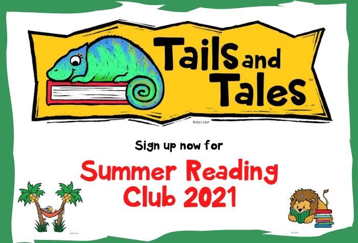Summer Reading Logo for Tails and Tales with chameleon sitting on a book, a koala reading in a hammock between to palm trees and a lion with a mouse in its mane reading below