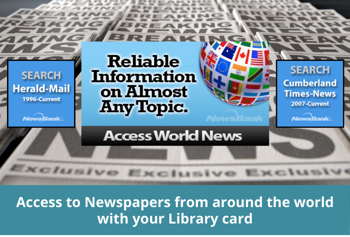 Newspaper background with Newsbank icons