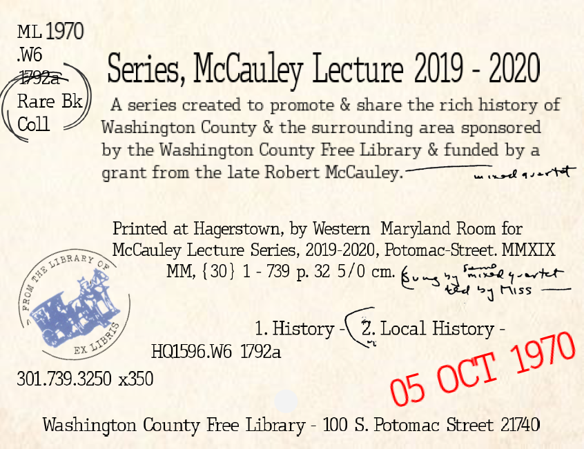 Information about the McCauley Lectures set to look like an old card catalog card