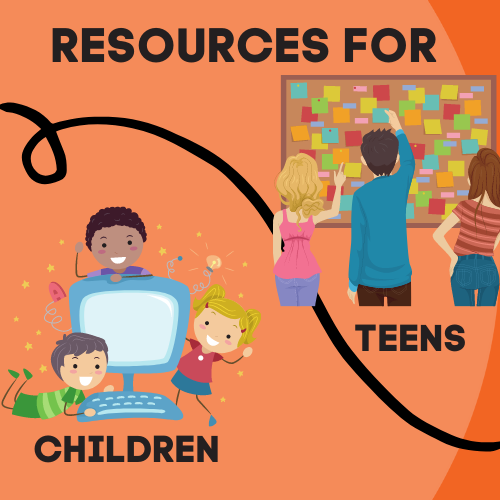 Resources for kids and teens graphic - children with computer, teens with announcement board