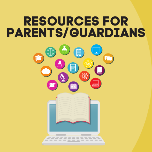 Resources for parents graphic - computer with multiple topic icons