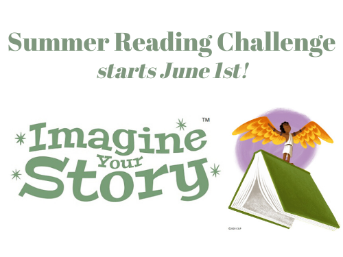 Summer Reading Club logo for 2020, boy with wings holding a book