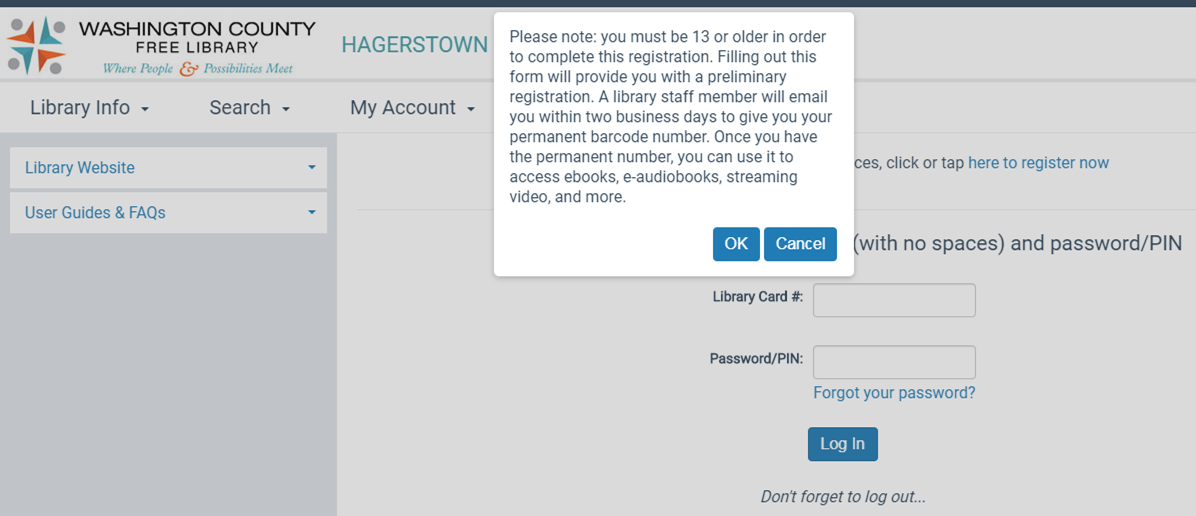 Step 2 - screen capture to register for account