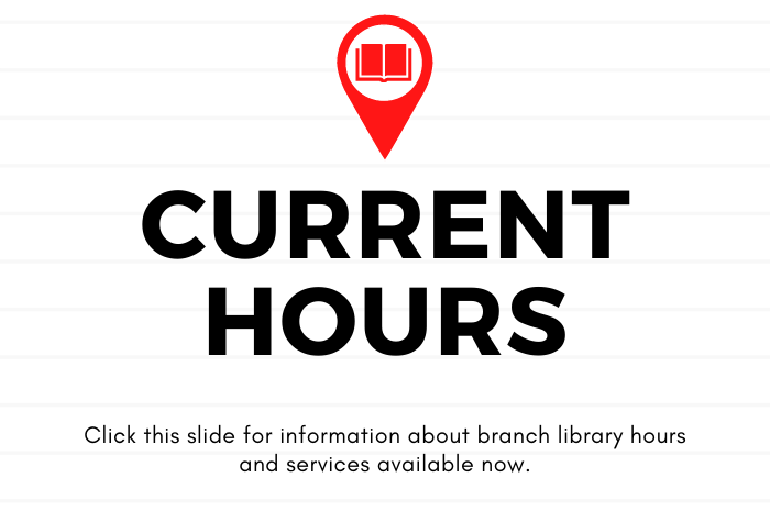 """Lined grey and white background with red map icon of a book over """"current hours"""" in bold lettering"""