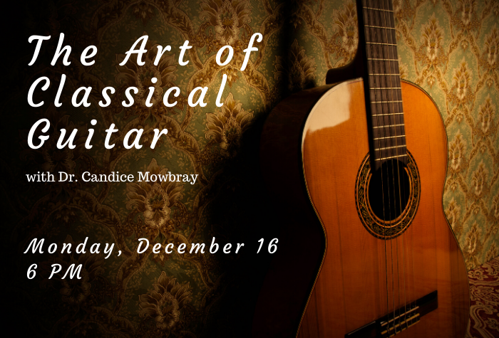 Photo of guitar against patterned wallpaper with lecture title in white font to right