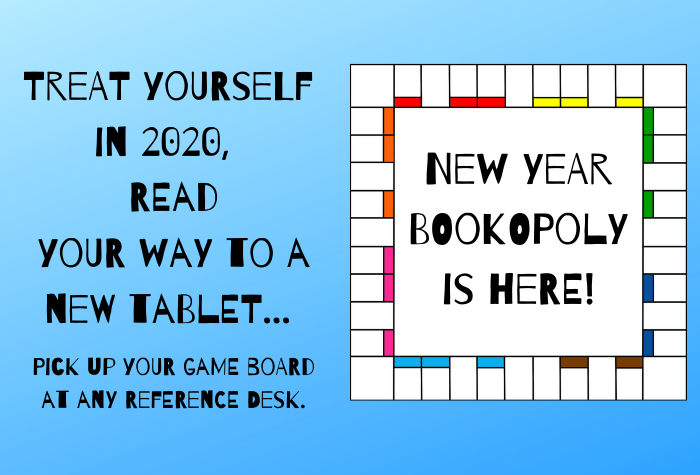 Bookopoly Game Board with text
