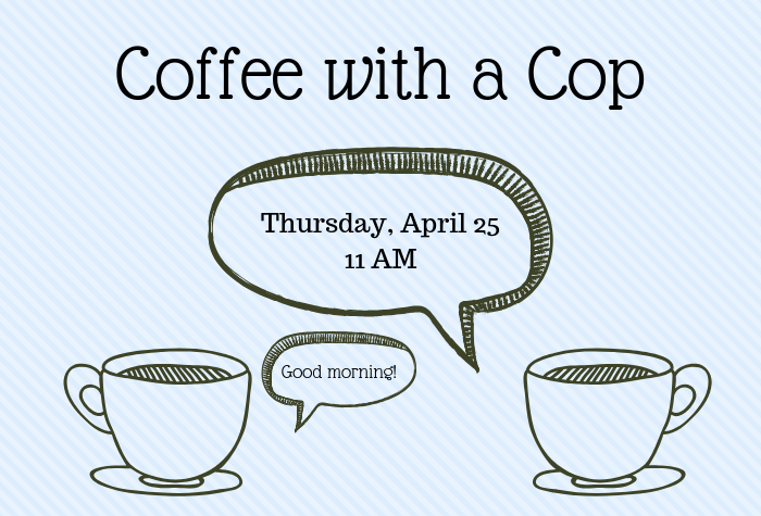 Drawing of coffee cups with speech bubbles containing program info