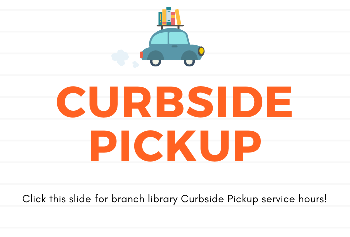 Image of small blue car with books on top with large Curbside Pickup in orange against a white lined background