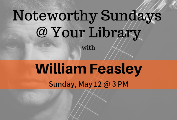 Photo of William Feasley with orange band of text with concert info overlaid
