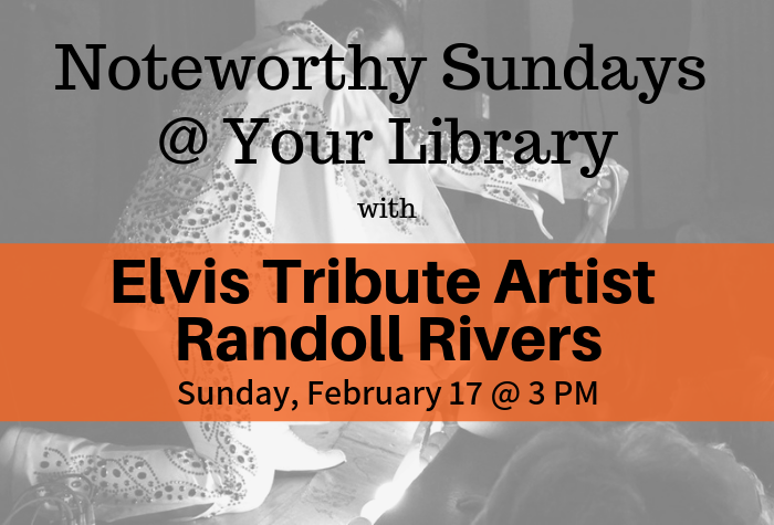 Photo of Elvis Tribute Artist in grey-scale with orange band and info in foreground