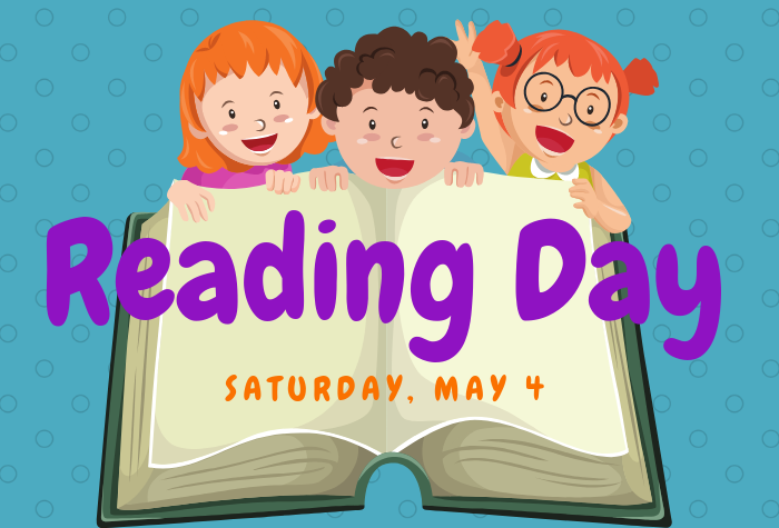 Graphic of three children in front of large open book with Reading Day text overlaid