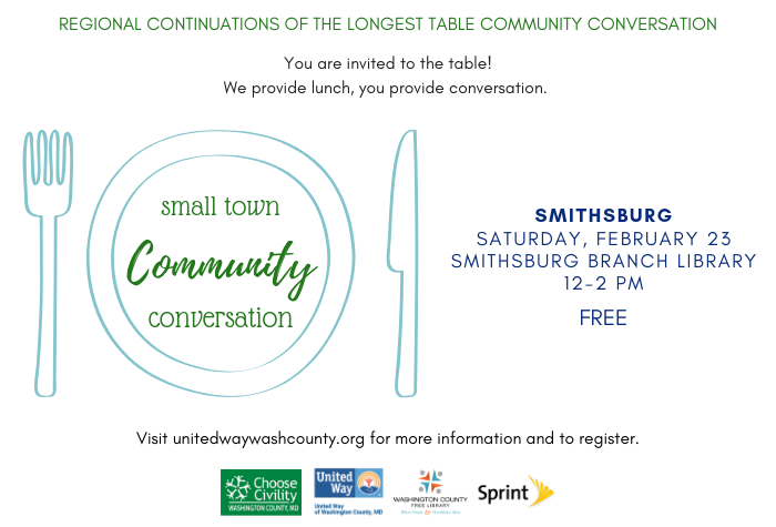 Graphic of plate, fork, and knife with Community Conversation in fancy font to left and date/time to the right with sponsor logos at bottom