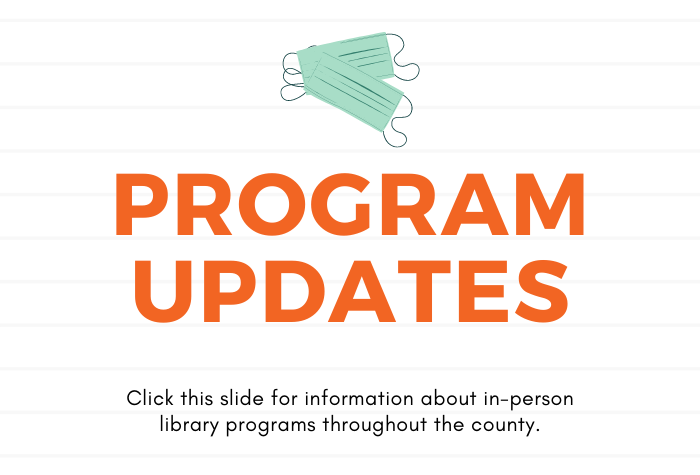 Lined background with Program Updates in orange block letters and two masks above