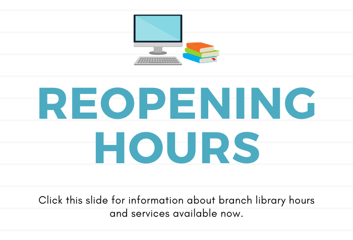 graphic of computer and stacks of books against white lined background and reopening hours in large block letters