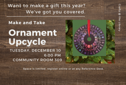 December event details with Christmas ornament