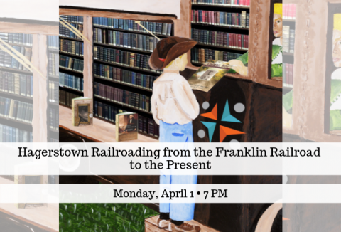 Painting of boy in cowboy hat standing at historic bookmobile with librarian handing book out of the window