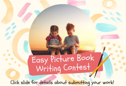 Watercolor painted designs in background with photo of two young children reading a picture book in the center