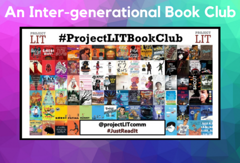 Prism-like background with collage of book covers