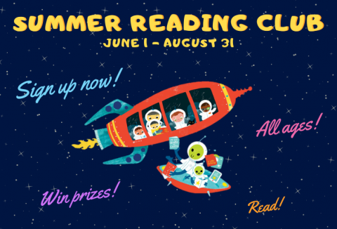 Program title and information over graphics of stars with children in cartoon-style space shuttle getting books from a passing alien spacecraft