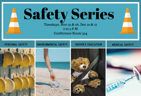 Safety series with hard hat, clean up beach, teddy bear and needle