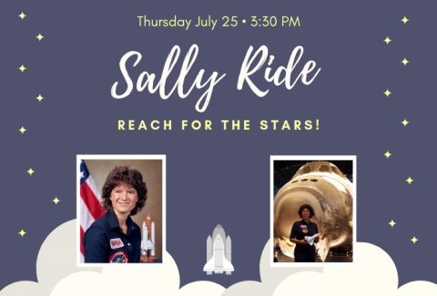 Graphic of space shuttle taking off with photos of Sally Ride