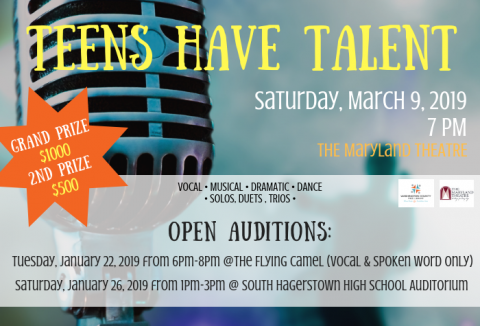 Image of a microphone with Teen have Talent audition dates and prize information