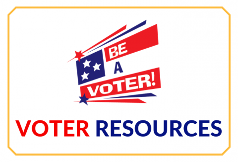 A stylized American flag with chunky 'Be a Voter' against a white background