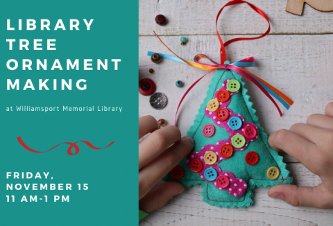 Photo of child making felt and button tree ornament with block of color to left and program title