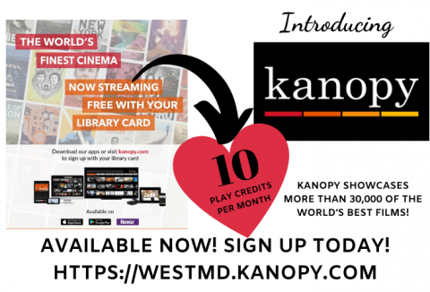 Kanopy logo with movie cover images