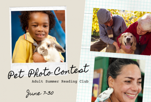 Photos of a small boy in a yellow shirt holding a furry white rabbit, a couple looking down at their dog, and a woman smiling with a bird on her shoulder.