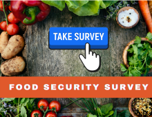 Image of fresh fruit and veggies with Take our Survey button