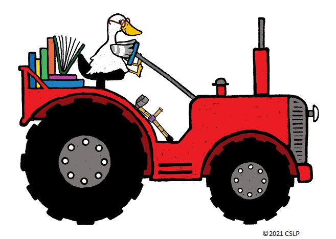 Cartoon of Duck driving a tractor with books