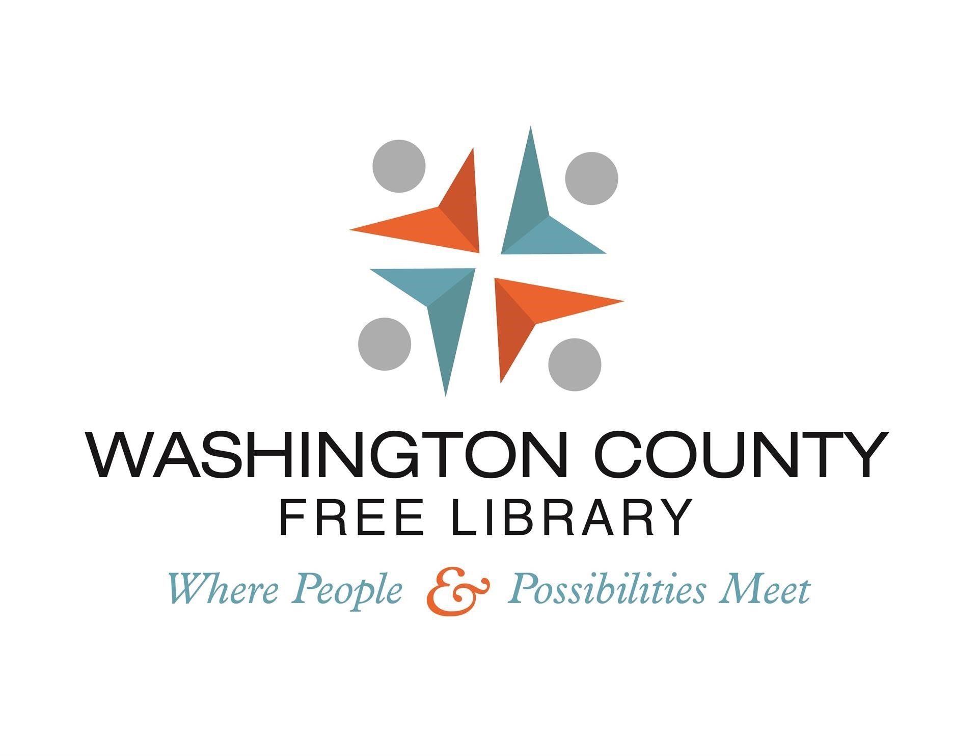 Washington County Free Library logo - 4 points reading book