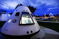 Image of space craft capsule planetarium location at dusk